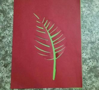 视频 绿叶/#尬才艺#剪纸艺术拼贴画绿叶